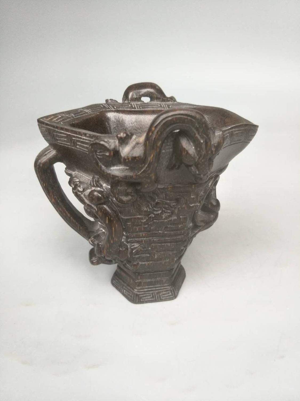 سلالة تشينج القديمة النادرة (YONGZHWNG:1678-1735), كوب على شكل قرن وحيد القرن ، منحوت يدويًا ، أفضل زينة ومجموعة ، شحن مجاني