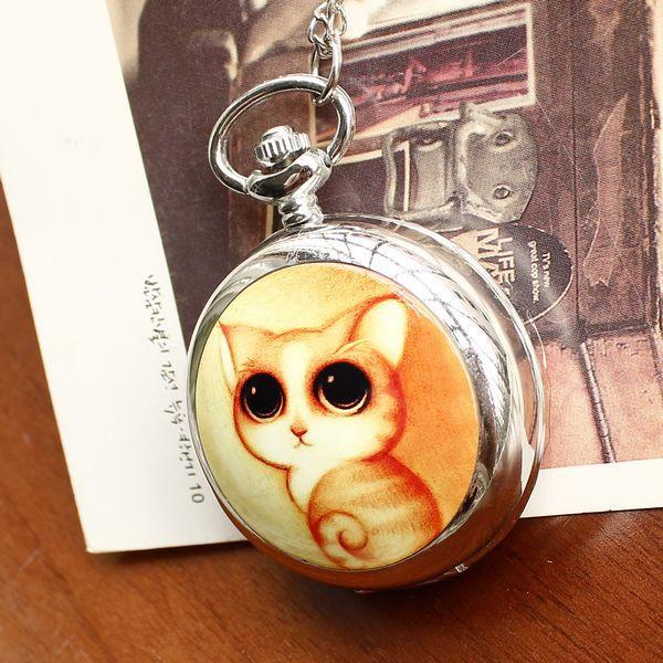 2020Retro Style Women Pocket Watch Cute Cat Ceramic Pocket Watch Chinese Style Nostalgic Necklace Pocket Watch Relogio Feminino