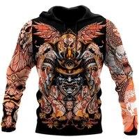 new fashion 3d hoodie samurai helmet tattoo printing sweatshirt unisex harajuku casual zip hoodies mz0616