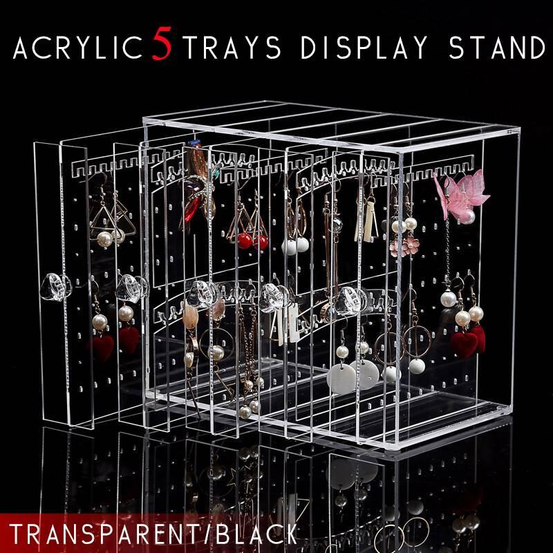 5 bandejas de acrílico soporte de exhibición de aretes caja de almacenamiento de joyería a prueba de polvo cajones estante titular caja de almacenamiento transparente/negro