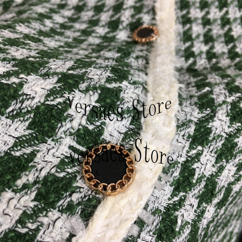 luxury design pearl letter embroidery fashion woman long sleeved cardigan temperament versatile thousand bird lattice loose coat enlarge
