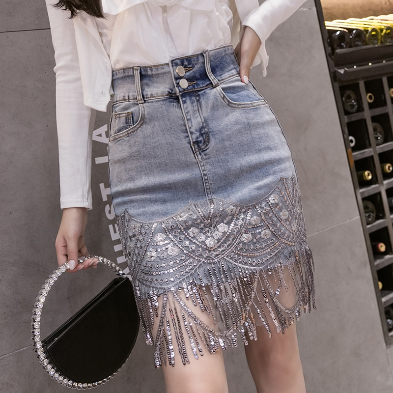Verão coreano sexy feminina denim mini saias cintura alta azul pacote hip jeans moda beading borla saia jupe femme 2020 b05601