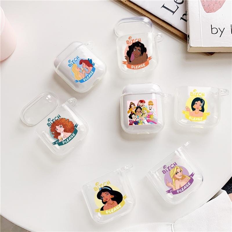 Perra por favor, princesitas de niñas de dibujos animados para Airpods2 1 auricular para los Airpods TPU transparente, blando auriculares cubierta Capa