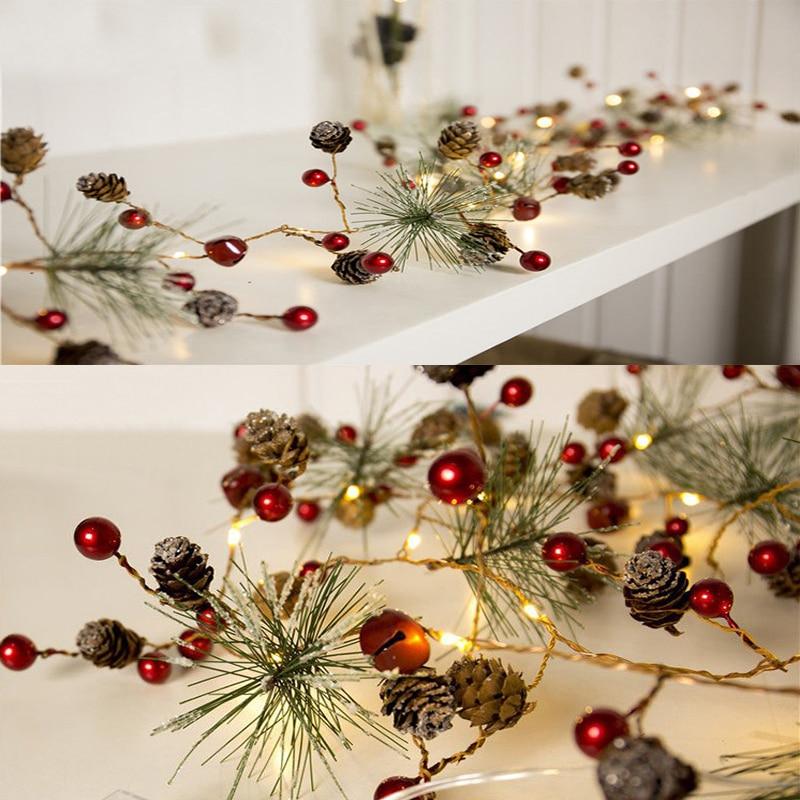 Lámpara con alambre de cobre para Navidad, luces LED de cono de...
