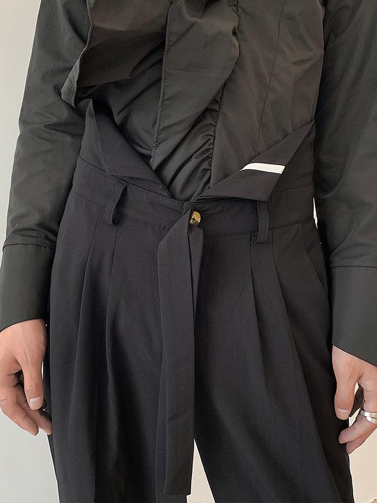 مستقيم عارضة فضفاض الشريط شخصية تصميم مهرج السراويل مزاجه بسيطة جديد الخريف واسعة الساق الرجال السراويل [M-6XL!]