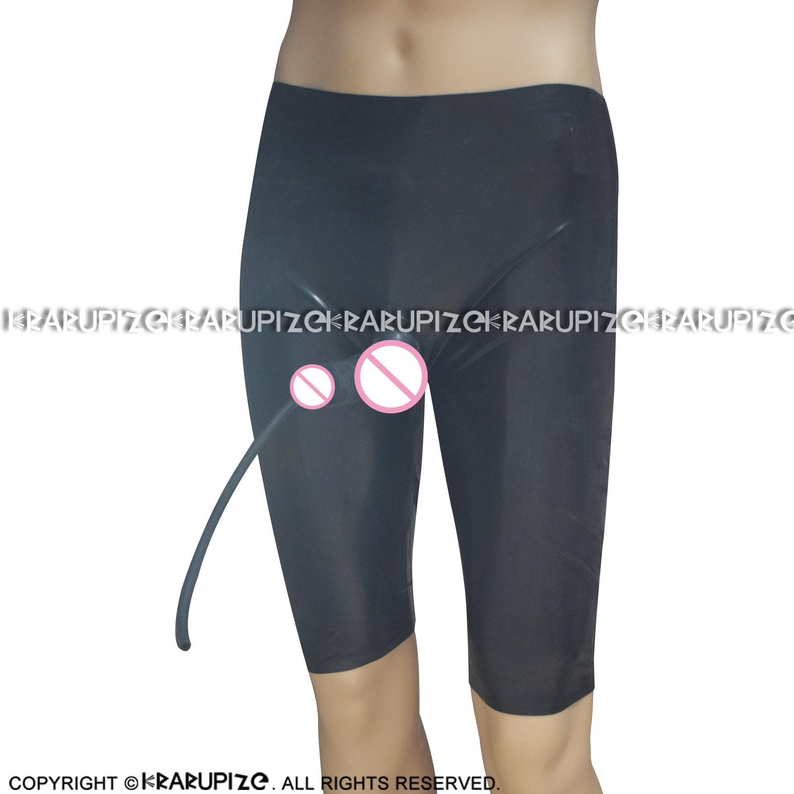 Black Latex Long Leg Boxer Shorts With Anatomical Penis Sheath And Piss Tube Rubber Underwear DK-0200