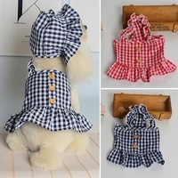 spring summer dog dress clothes for small medium dogs dress sweety princess plaid dress chihuahua skirt and hat costume