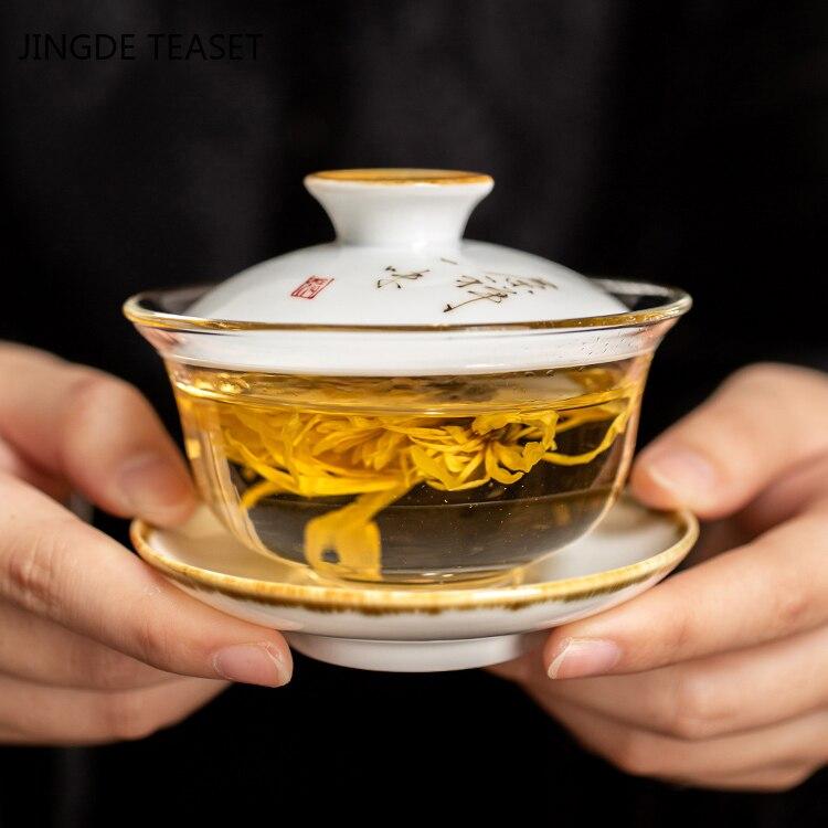 فنجان شاي Gaiwan مصنوع يدويًا من السيراميك ، طقم شاي صيني مقاوم للحرارة ، إكسسوارات ، حفل شاي ، 140 مللي