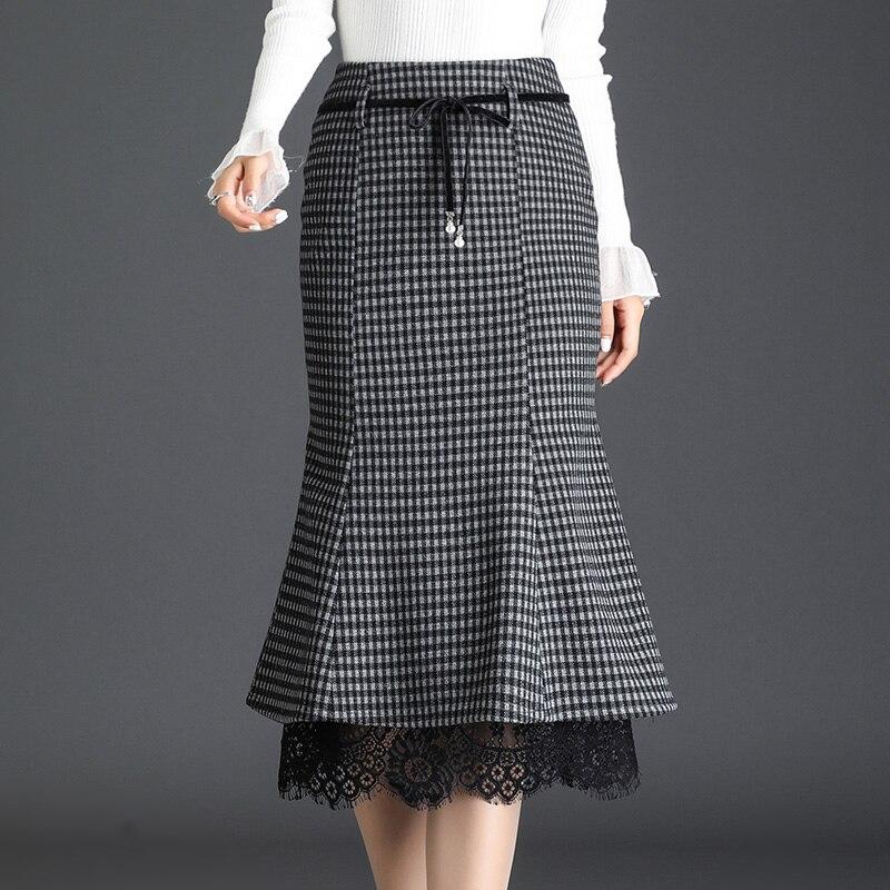Осень-зима 2020, Женская облегающая юбка-годе средней длины с высокой талией, шерстяная юбка, облегающая клетчатая юбка