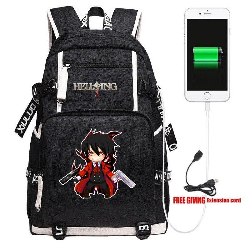Mochila escolar de Anime HELLSING para hombre y mujer, bandoleras para ordenador portátil, mochila de estudiante para Cosplay y adolescentes, regalo