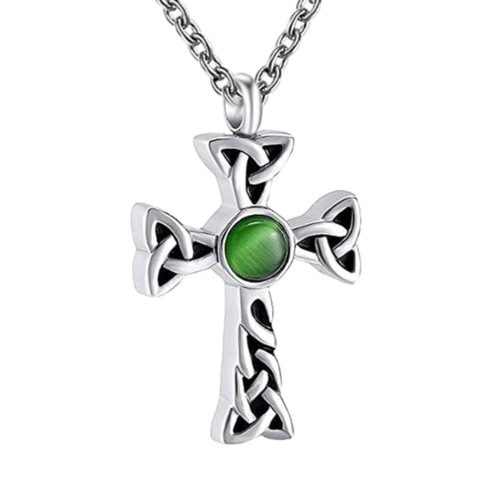 Medallón conmemorativo de Cruz clásica con cristal de acero inoxidable, joyería de cremación, collar de urna para cenizas, colgante de recuerdo