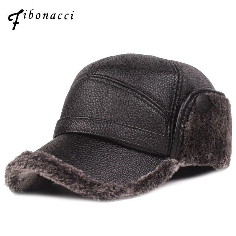 Фибоначчи 2019 новая классическая мужская зимняя шапка теплая защита ушей плюс бархат толстый среднего возраста и старше кожаная бейсболка
