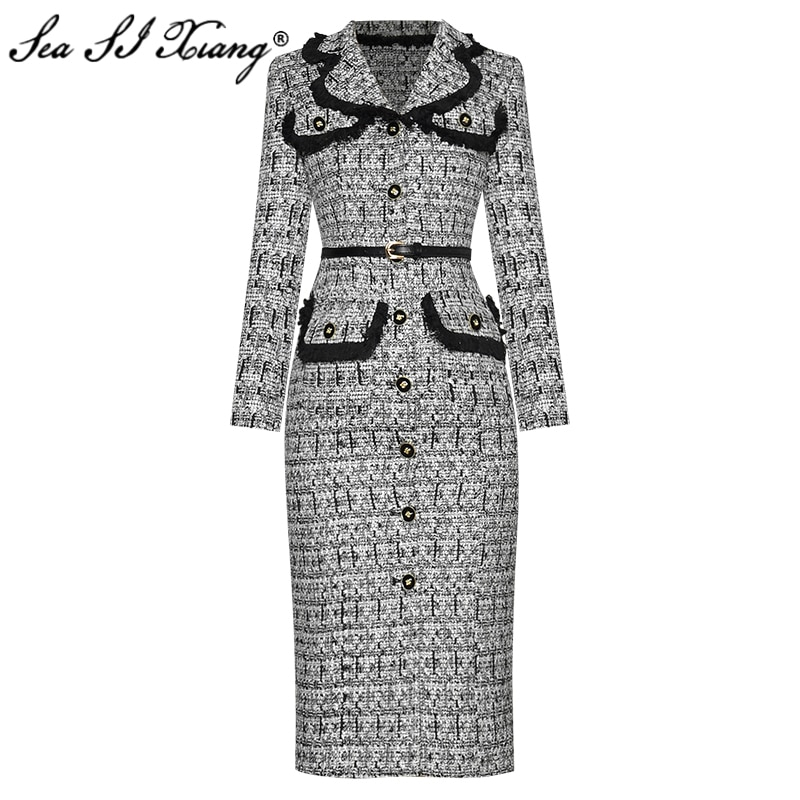 Seasixiang-فستان تويد ربيعي نسائي ، مصمم أزياء ، أكمام طويلة ، ياقة مطوية ، صدر واحد ، حزمة الأرداف