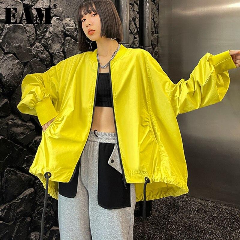 EAM-معطف أصفر نسائي بياقة واقفة وأكمام طويلة ، معطف عصري ، مقاس كبير ، ربيع خريف 2021 ، 1DD6548