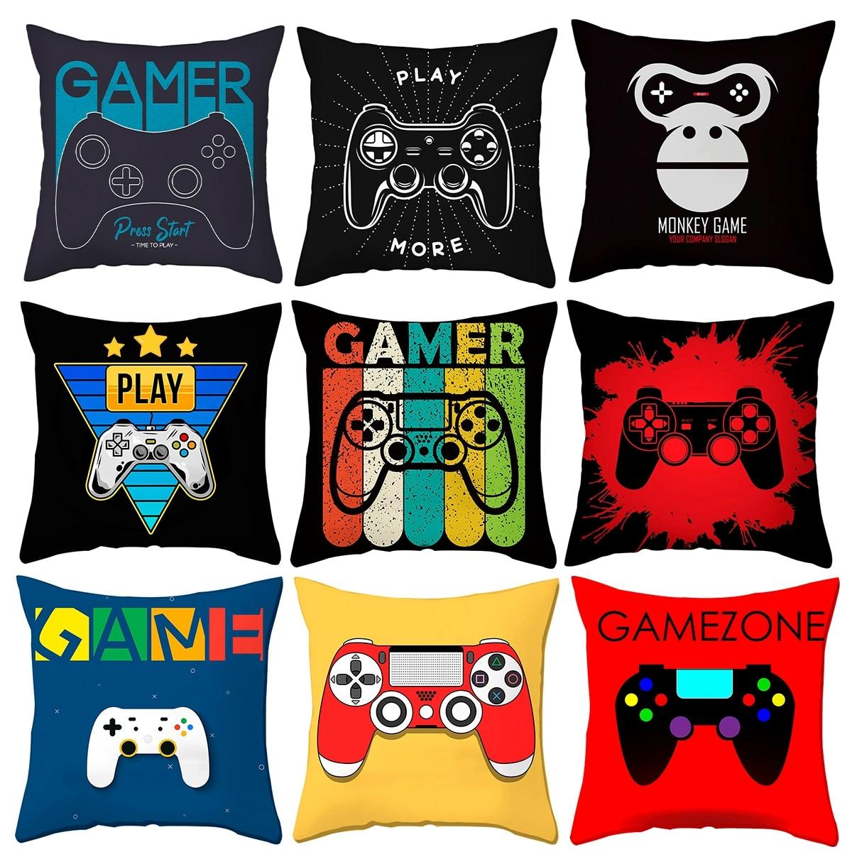 Черный игровой контроллер с клавиатурой, наволочка для подушки, наволочка для гостиной, спальни, дивана, декоративные подушки