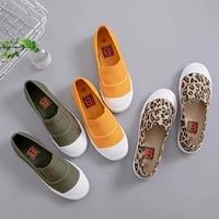 2021 new canvas shoes woman fashion sneakers low 1cm 3cm slip on leopard casual flats shoes woman low cut designer sneakers