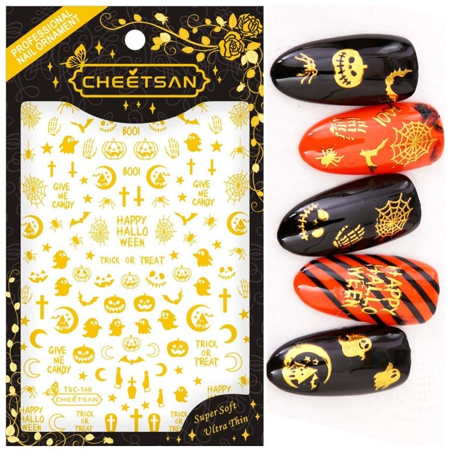 TSC-140 série de halloween tamanho grande 3d arte do prego adesivos decalque cheetsan marca modelo diy prego ferramenta decorações