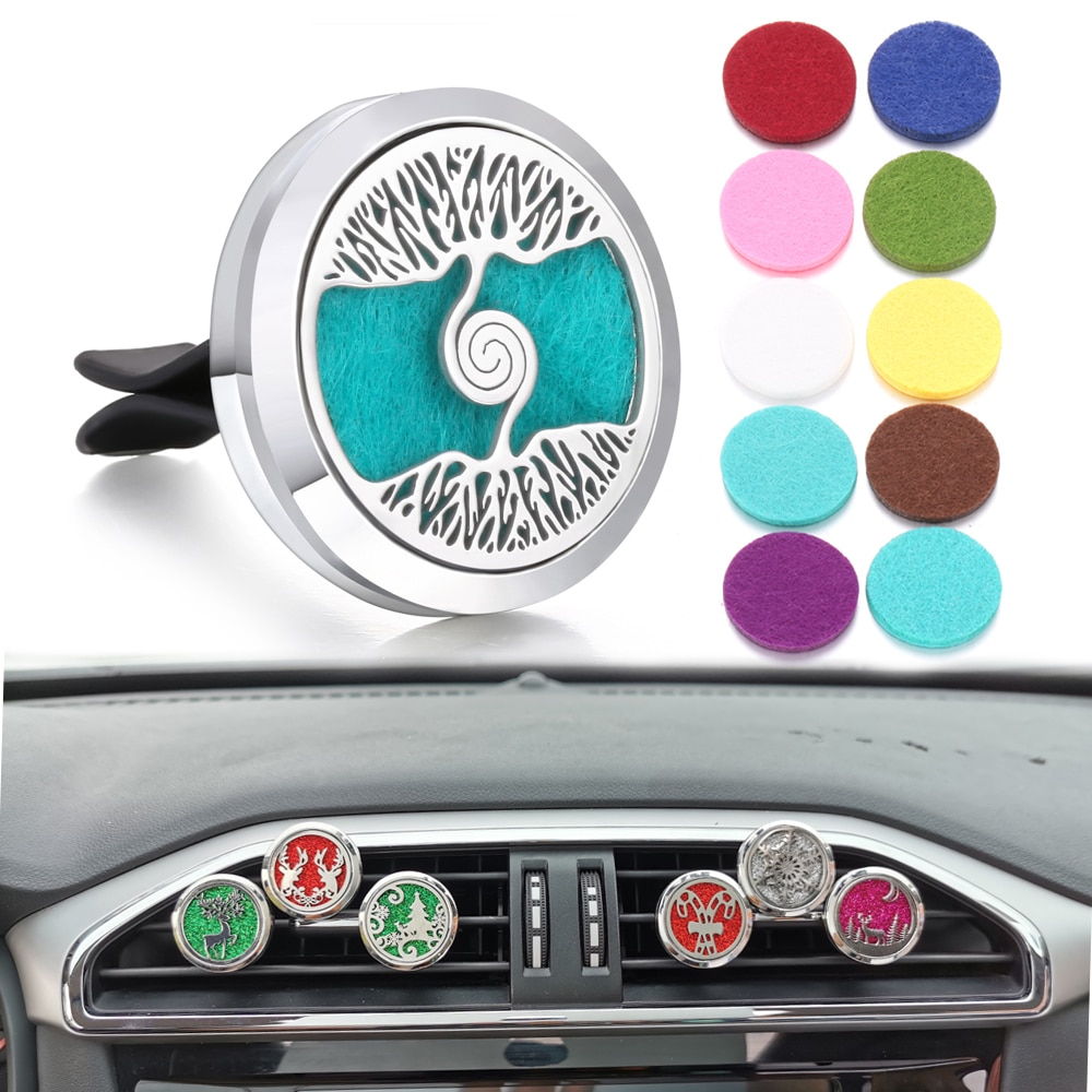 Aromatherapy Jewelry Car Perfume Diffuser Clip 30mm Flower Tree of Life Perfume Essential Oil Diffus