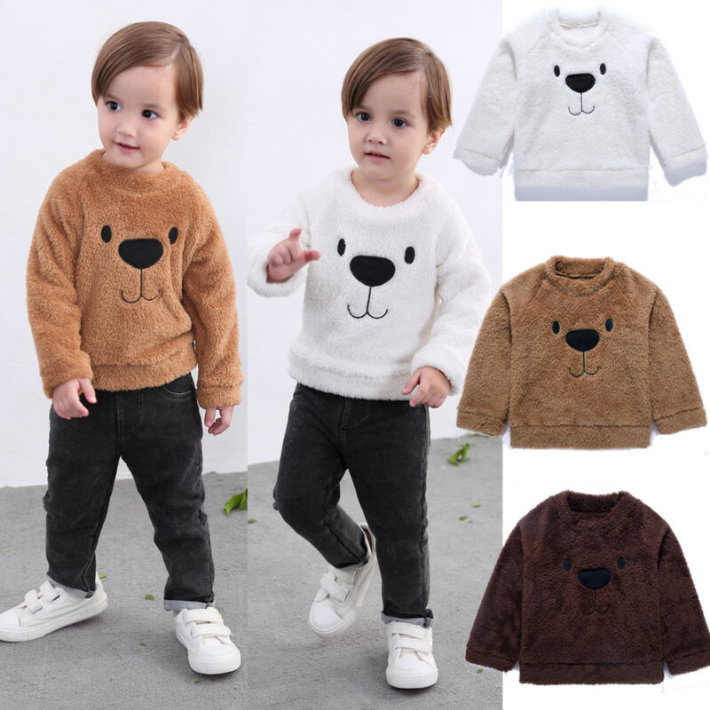 2019 Autumn Children Velvet Sweaters Toddler Kid Girl Boy Cartoon Bear Tops Pullover Fashion Sweater Winter Warm Clothes 1-5T