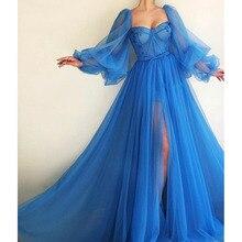 Arabe robes de soirée chérie longueur dubaï saoudien a-ligne manches longues Tulle bleu élégant robe de soirée robe de soirée de bal
