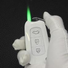 Torch Turbo Jet Lighter Butane Gas Inflated Cigar Creative Car key Lighter Cigarette Metal Green Fir