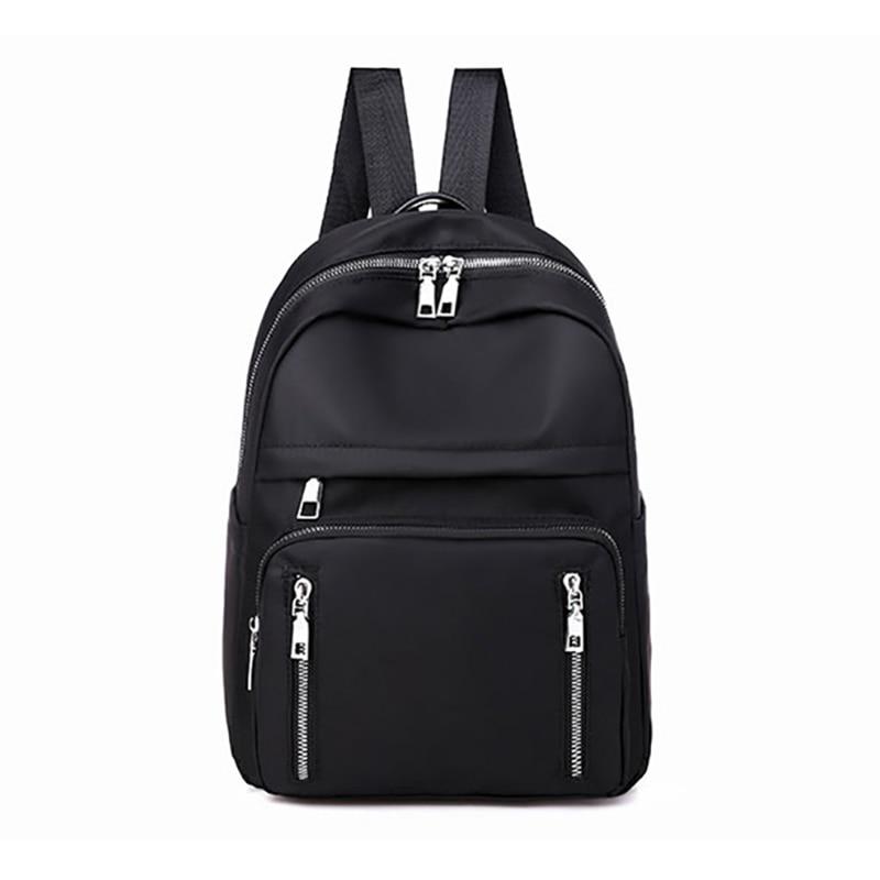 Mochila Casual para mujer, mochila de Nylon, bolso de hombro de colegio, mochila impermeable para chicas adolescentes, mochila negra para estudiante