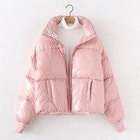 2021 New Winter Women Coat Short Warm Long Sleeve Ladies Zipper Thicken Space Cotton Jacket Rainproof Loose Pocket Casual Female