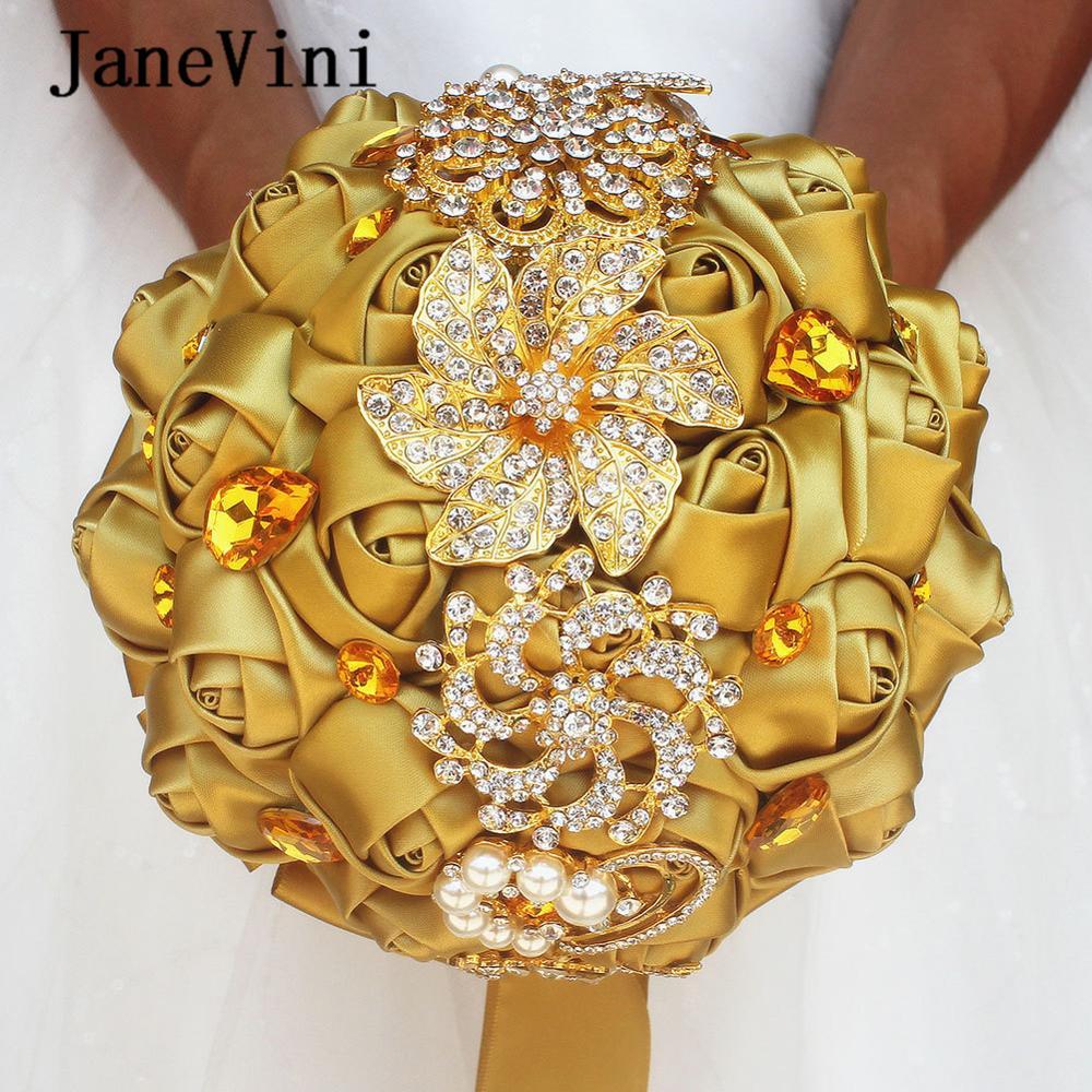 JaneVini-باقات زفاف ساتان فاخرة ، أحجار الراين الكريستالية اللامعة ، ورود ذهبية صناعية ، إكسسوارات باقة الزفاف