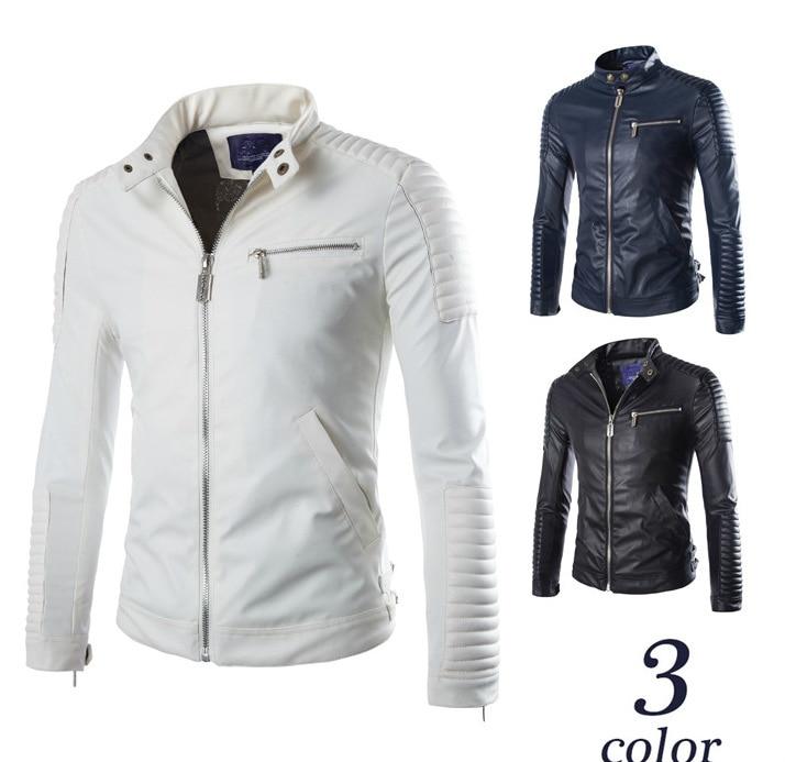Homens cotovelo apoio falso jaqueta de couro da motocicleta meninos couro do plutônio gola motociclista jaqueta oversize branco manga longa casaco masculino