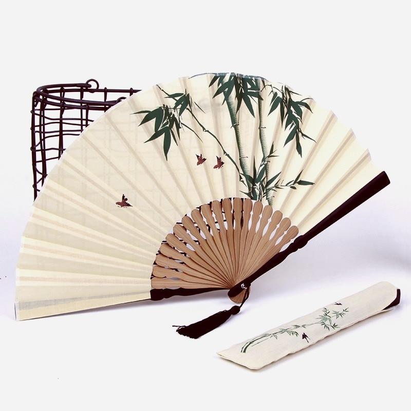 Abanicos de bambú pequeños Para fiesta de Cosplay, ventilador plegable chino de...
