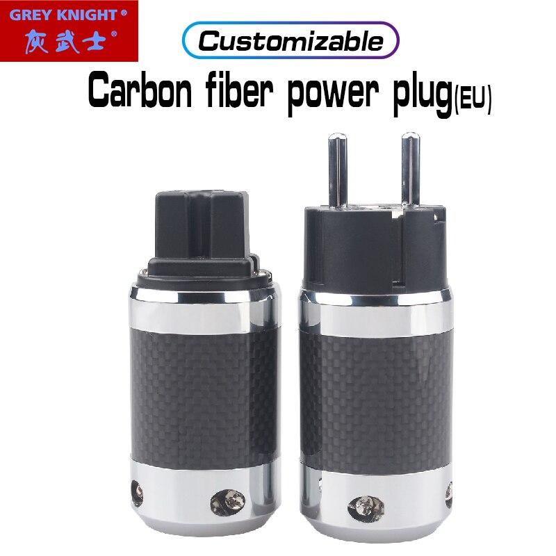 رمادي فارس GK-TQ12 1 مجموعة عالية الحالية من ألياف الكربون المتكلم قابس طاقة الاتحاد الأوروبي كابل الطاقة التوصيل الصوت رئيس الطاقة