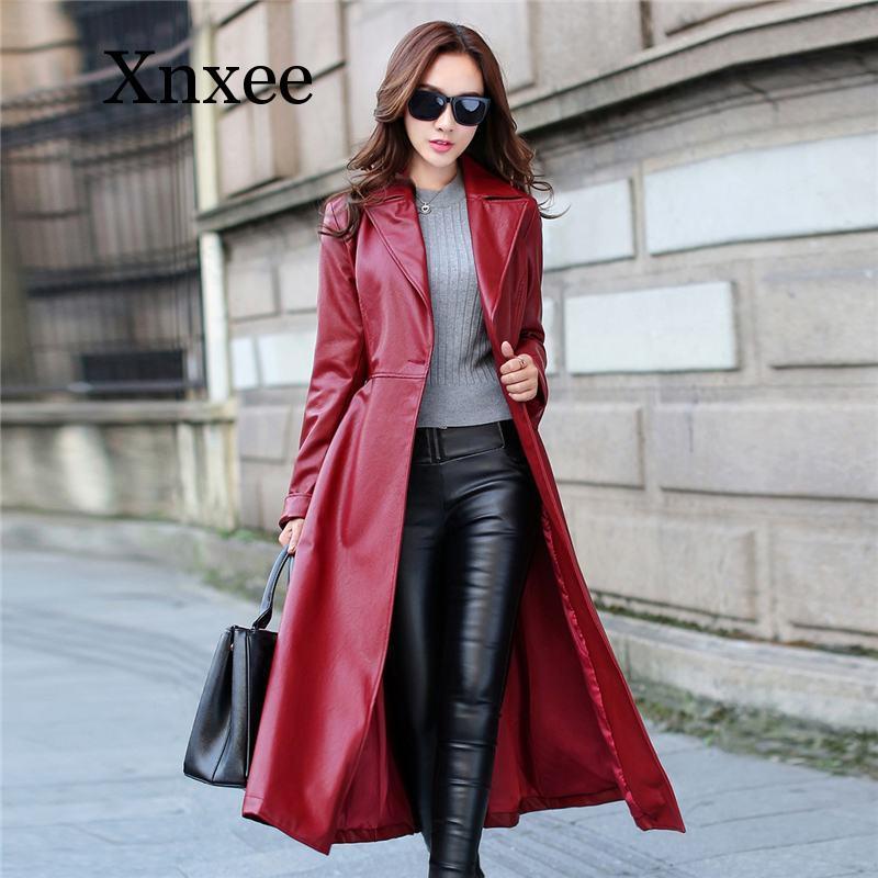 Women 2020 Autumn Winter Slim Elegant Faux Leather Long Jacket Female Single Breasted Lapel Leather Trench Coat elegant Outwear enlarge