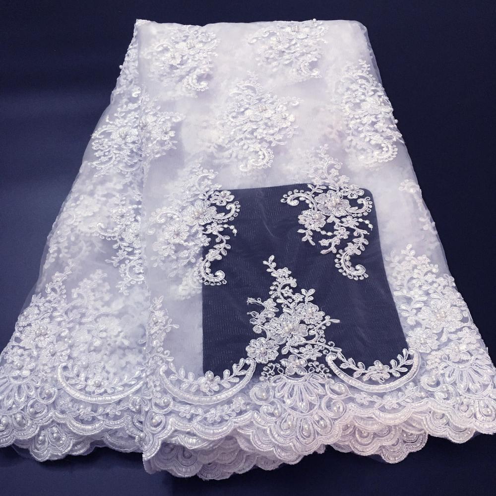 Tela de encaje de boda francés, blanco puro, nigeriano, tela de encaje de tul africano, tela de encaje bordado con cuentas, tela de encaje para K-W006 de boda