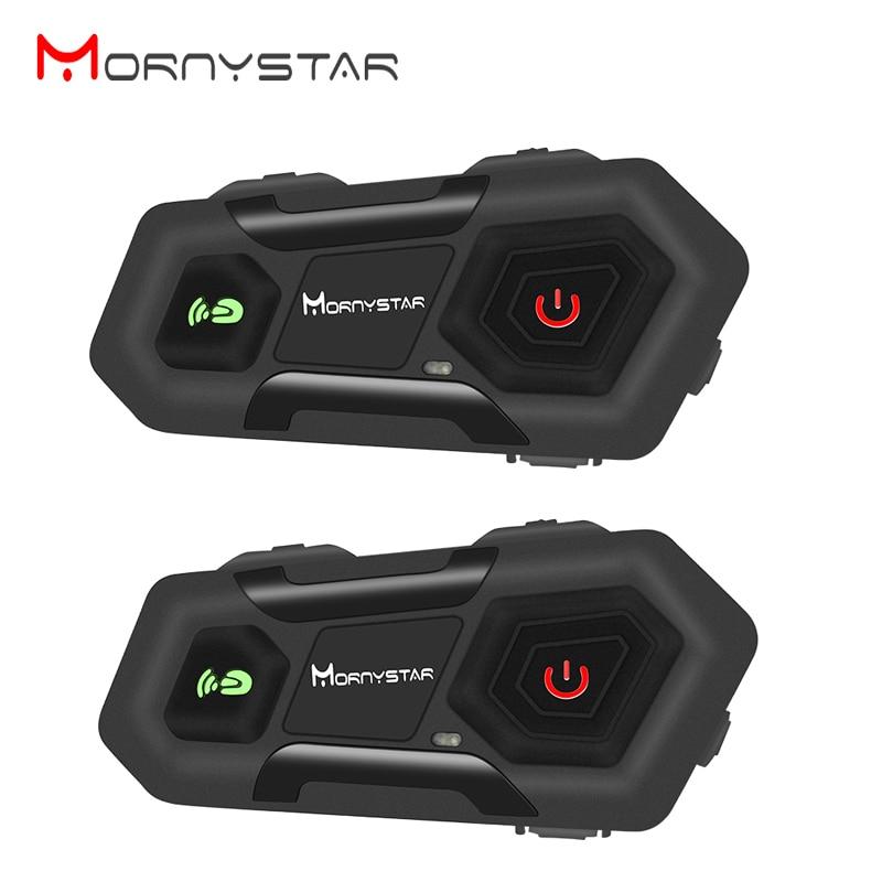 2 uds Mornystar M2 1600m intercomunicador para casco de motocicleta Group 3 casco de conductor Bluetooth auricular impermeable manos libres interfono Moto