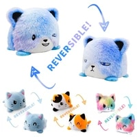 gatos reversible cartoon peluches double sided cat stuffed doll soft plush octopu toy for children baby kids birthday gift