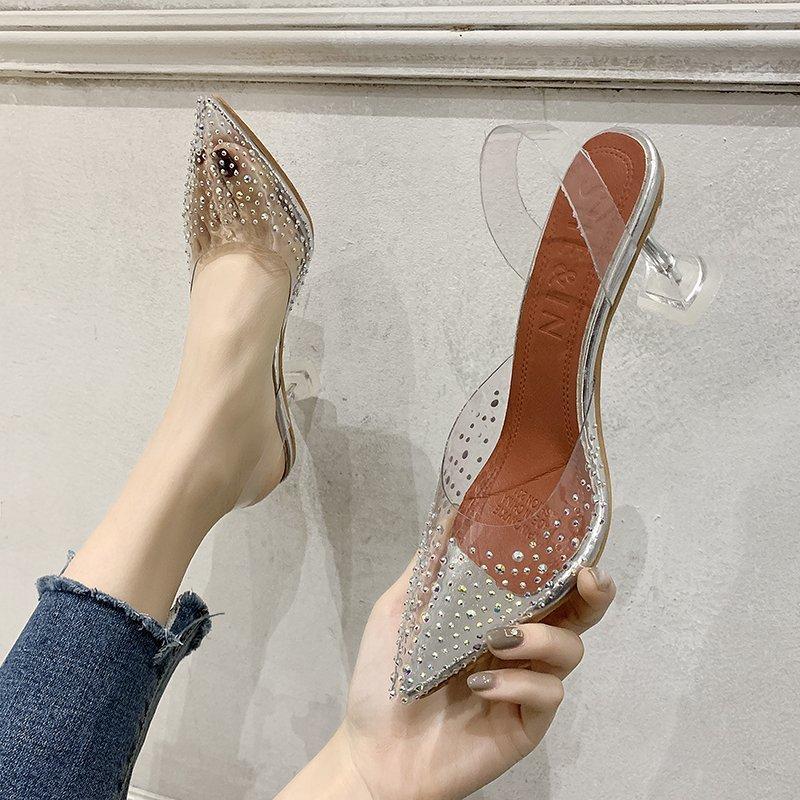 Summer 2021 new transparent women's sandals pointed thin heel sexy high heels women's High Heels Size 42