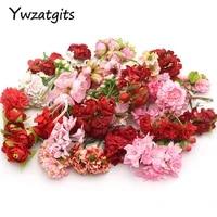 Ywzatgits     tetes de fleurs artificielles  10 lots  taille mixte aleatoire  fournitures de decoration pour la maison  fete de mariage  YA0309