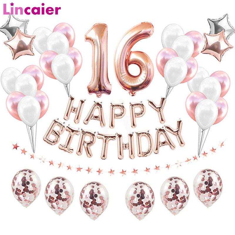 38 قطعة عيد ميلاد سعيد الحلو 16 زخارف حفلة بالونات عدد 16th سنة صبي فتاة ستة عشر الذكرى لوازم