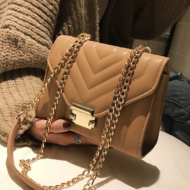 European Fashion Female Square Bag PU Leather Women's Designer Handbag Lock Chain Shoulder Messenger Luxury Handbags Women Bags