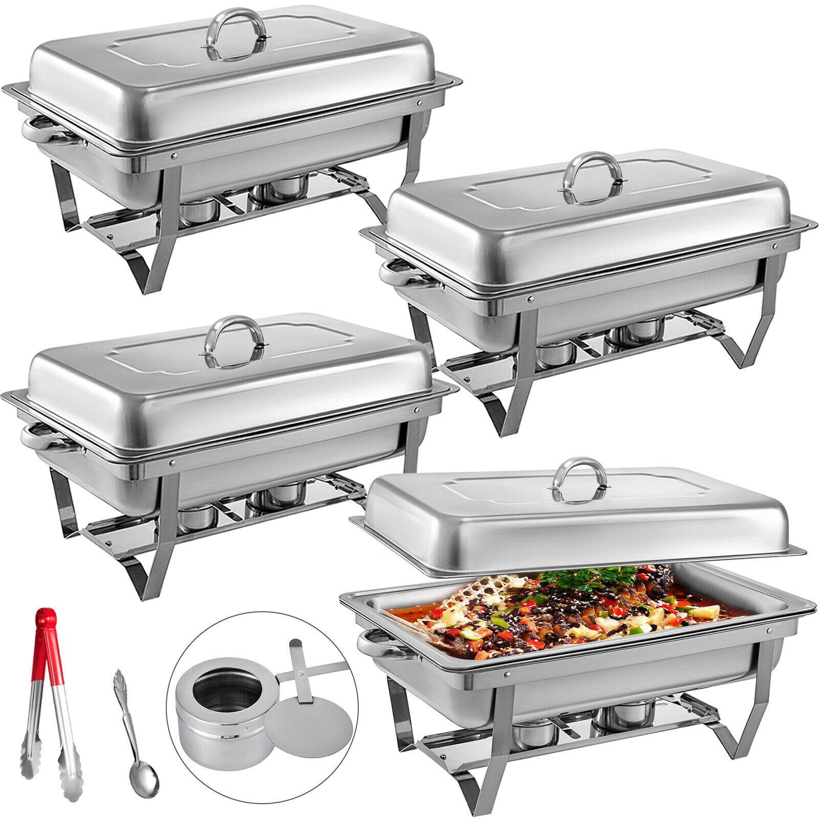 سخان أطباق من الفولاذ المقاوم للصدأ ، 4 عبوات ، 8 لترات ، حجم كامل ، للبوفيه بإطار قابل للطي