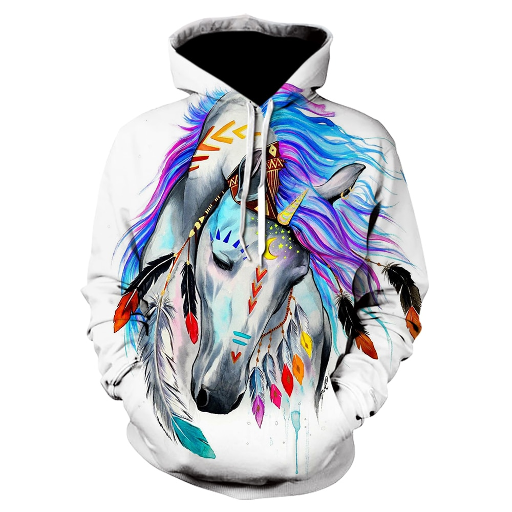 2020 Fashion 3D Printed Painted Unicorn Hoodie Girl Boy Sweatshirt Rainbow Horse Animal Print Long Sleeve Children's Hoodie Hood girls rainbow print sweatshirt