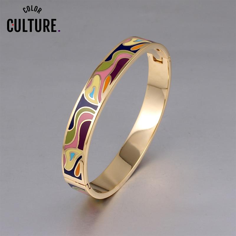 Pulsera de abalorios de moda para mujer, brazaletes de esmalte coloridos geométricos de oro para parejas, diseños de regalos de Año Nuevo