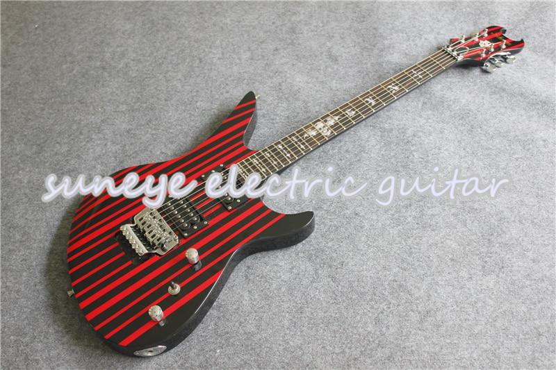 Tienda a medida China Guitarra eléctrica negro RAYA ROJA acabado brillante Guitarra...