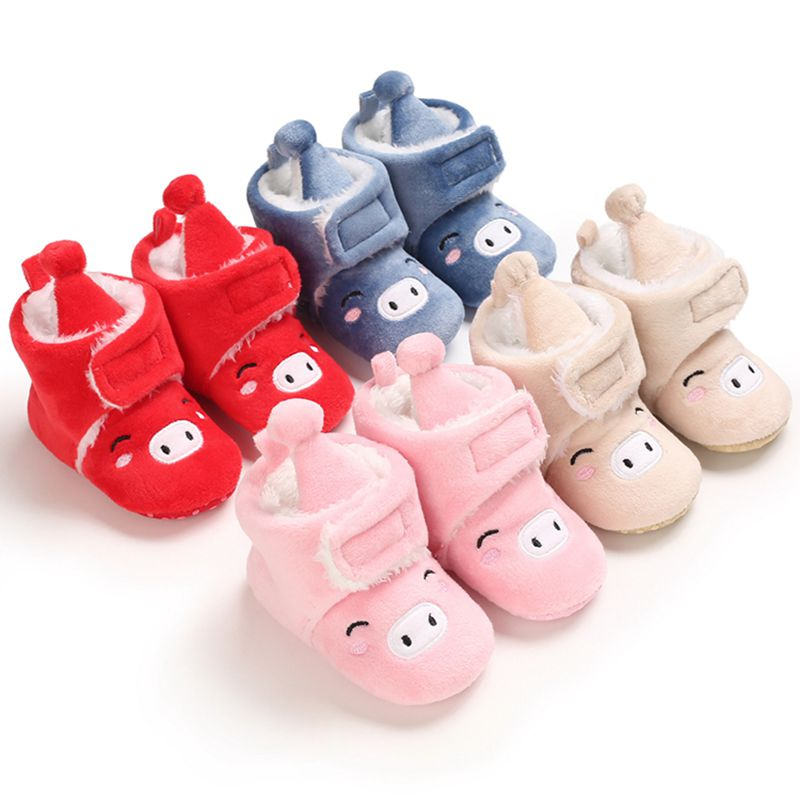 0-18M Newborn Infant First Walker Plush Baby Girls Booties Winter Warm Baby Shoes Cartoon Ankle Booties