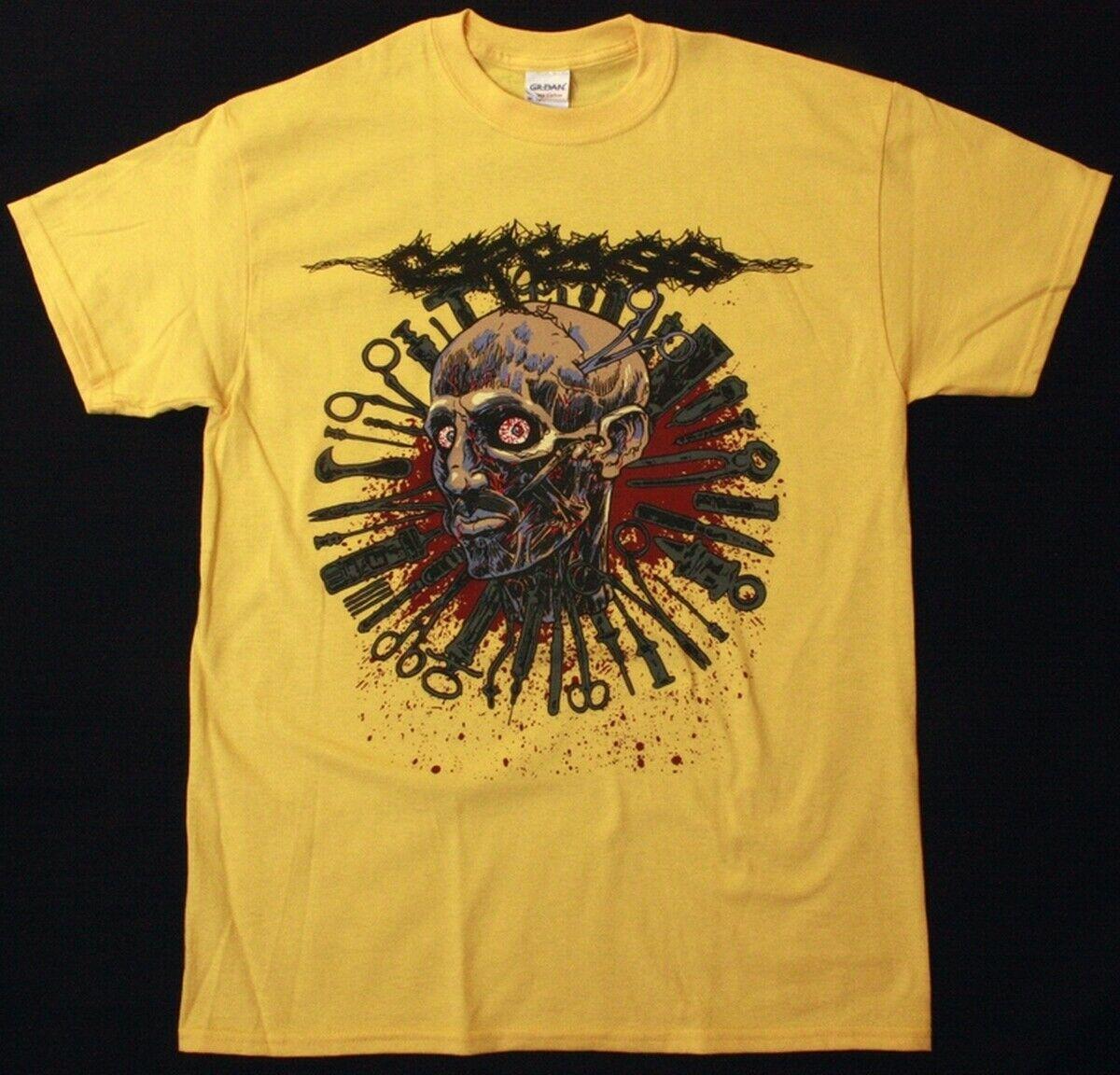 Carcass Head One Foot 2016 Tour Grindcore Death Metal, nueva camiseta amarilla