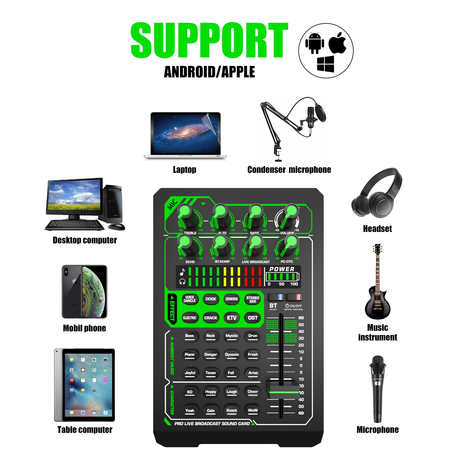 XTUGA E1 Sound Card BM800 Microphone Kits Audio Interface Sound Card Mixer with Bluetooth Monitor for Phone PC Live Streaming enlarge
