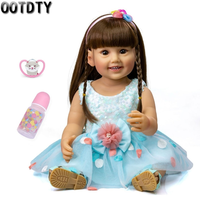 40cm soft silicone vinyl rebron baby doll non toxic safe toy handmade lifelike newborn baby toy doll for children girls playmate 50/55cm Washable Newborn Doll Opened Eyes Soft Vinyl Magnetic Mouth Baby Newborn Girl Toy Lifelike Baby Toy Comfort Doll