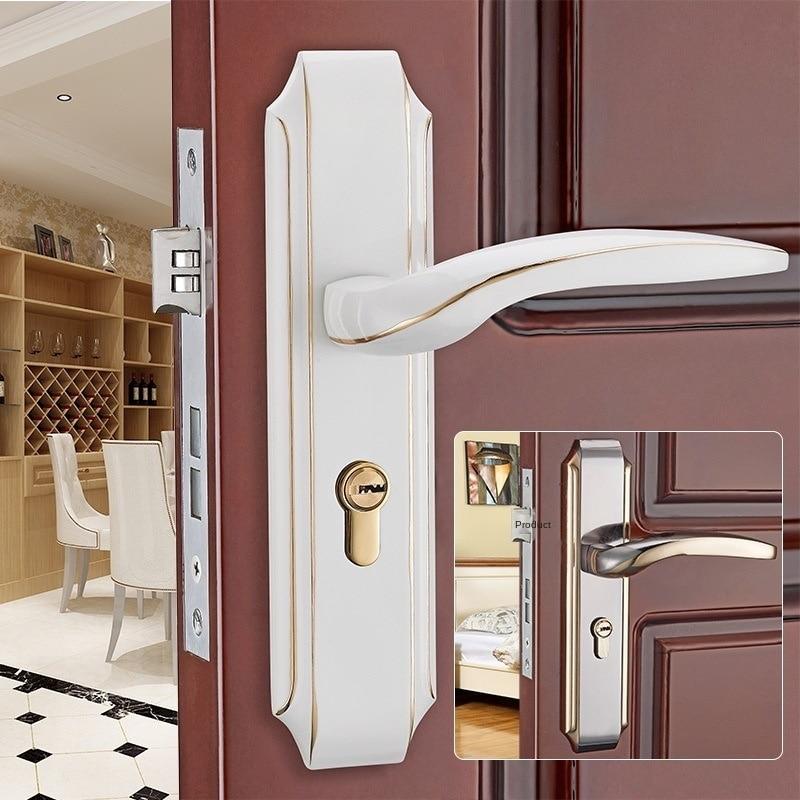 قفل باب من الخشب الصلب الأوروبي ، قفل باب غرفة النوم ، الأجهزة المنزلية الميكانيكية ، مقبض الباب