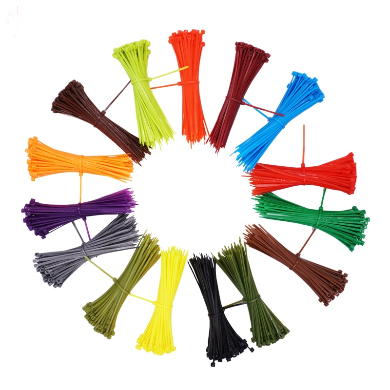 100pcs/set 3*100mm Self-locking Nylon Cable Ties 12 color Plastic cable zip tie wire binding wrap straps Fastener Hook Loop mayitr 10pcs black double flex cuff disposable self locking nylon cable ties plastic zip tie wire binding wrap straps