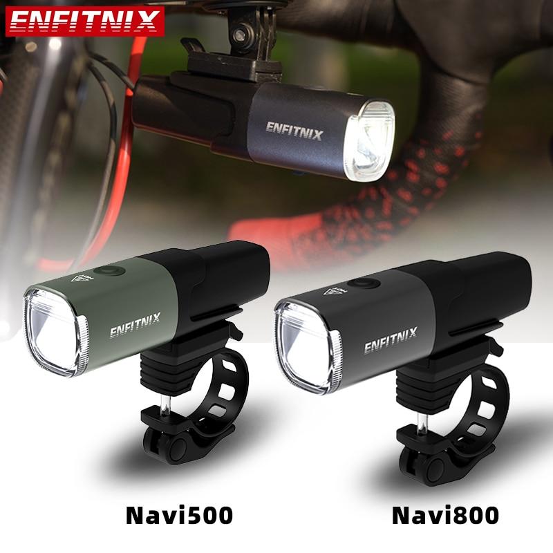 مصباح أمامي ذكي Enfitnix Navi 500 600 800 المصابيح الأمامية الذكية القابلة لإعادة الشحن USB دراجة الطريق الجبلية مستشعر الضوء الأمامي الذكي وقت طويل